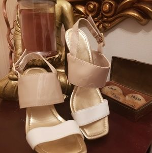 BY JESSICA PATENT LEATHER WEDGE SANDALS